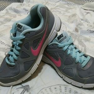 Nike revolution pink blue gray athletic shoes